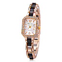 Women's Rhinestone Rectangle Dial Alloy Band Quartz Analog Wrist Watch (Assorted Color)