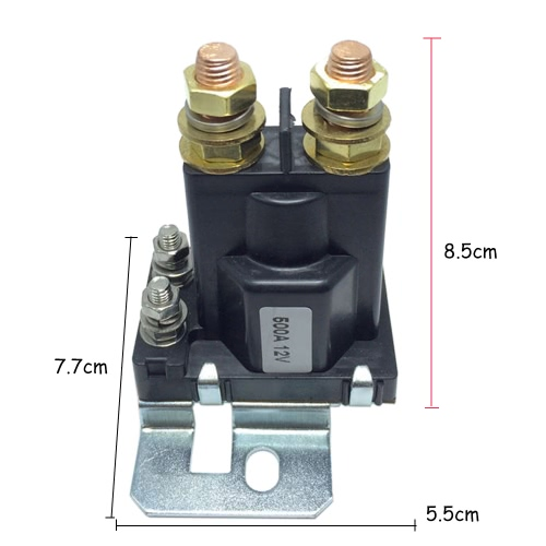 12VDC 500A AMP Heavy Current 4 Pin SPST Car Auto Start Relay Contactor Double Batteries Isolator Off On Control for Multi-battery system Forklift Engineering Automotive