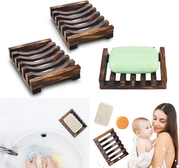 Natural Wooden Bamboo Soap Dish Tray Holder Storage Soap Rack Plate Box Container for Bath Shower Plate Bathroom YD0357