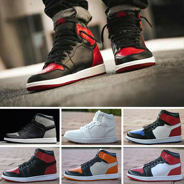 High Quality 2018 New 1 High OG Basketball Shoes Game Royal Banned Shadow Bred Red Blue Toe cheap Men 1s Shattered Backboard Retro Sneakers