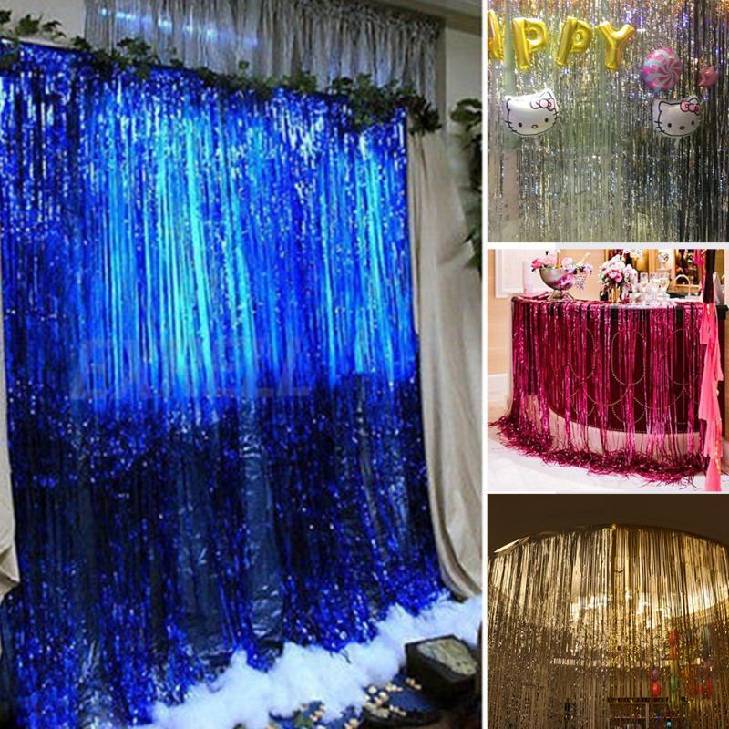 Wholesale-1M*2M Metallic Fringe Curtain Party Foil Tinsel Room Decor door curtain Christmas/Birthday/Wedding Party Photo New Year