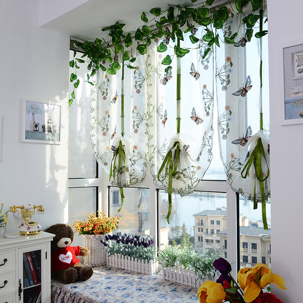 wholesale-beaufitul butterfly pattern door roman window scarf sheer floral curtain panel voile child baby bedroom decor ing
