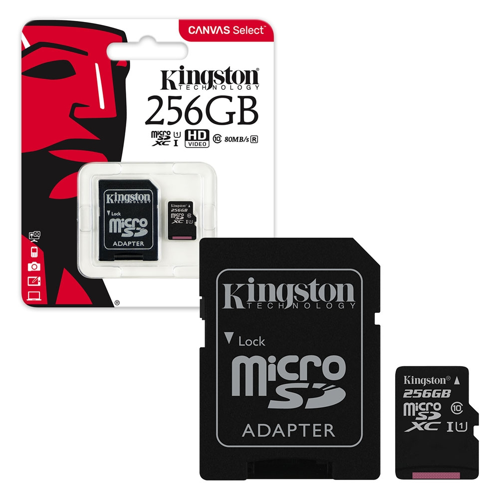 Kingston Canvas Select Micro SD SDXC Memory Card 80MB/s UHS-1 Class 10 With Adapter - 256GB