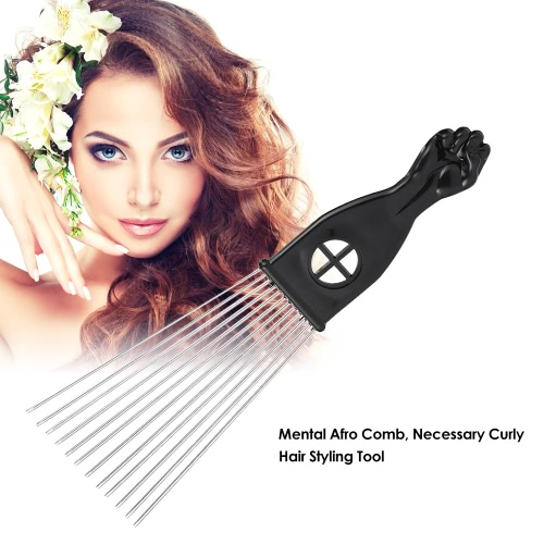 Metal Afro Comb African American Pick Comb Hair Brush Hairdressing Styling Tool Black Fist