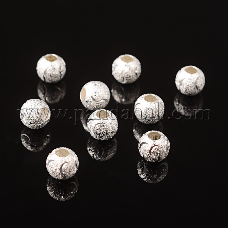 Brass Jewelry Findings, Beads, Silver Color, about 10mm in diameter, 9mm thick, hole: 3.5mm