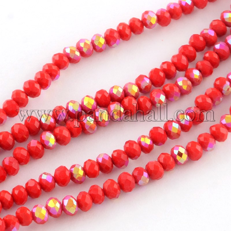 Electroplate Solid Color Glass Rondelle Bead Strands, Half AB Color Plated, Faceted, Red, 6x4mm, Hole: 1mm; about 95pcs/strand, 15.7
