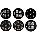 6pcs Metal Nail Art Stamp Stamping Image Template Plate M Series