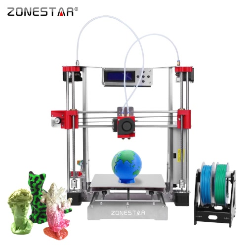 ZONESTAR P802QR2 Prusa i3 Metal FDM 3D Printer DIY Kit Dual Extruder Dual Color Printing Support Auto Leveling Resume Upgrade Large Printing Size 220 * 220 * 240mm High Accuracy w/ Heatbed + 0.5kg 1.75mm White PLA Filament