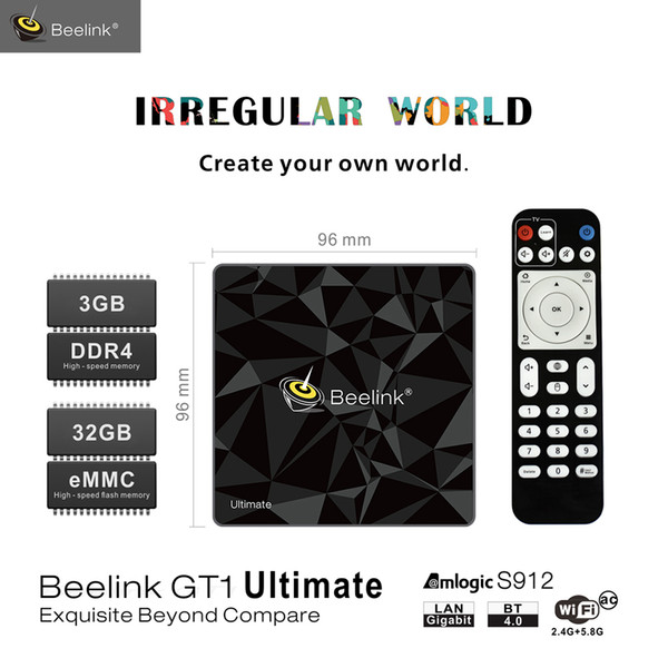 beelink gt1 ultimate tv box android 7.1 amlogic s912 octa core 5g wifi bluetooth 3g 32g media player 4k set box