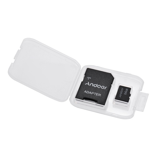 Andoer 64GB Class 10 Memory Card TF Card + TF Card Adapter for Camera Car Camera Cell Phone Table PC Audio Player GPS