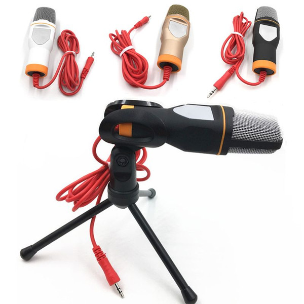 3.5mm wired microphone with tripod stand handheld microphone for pc chatting