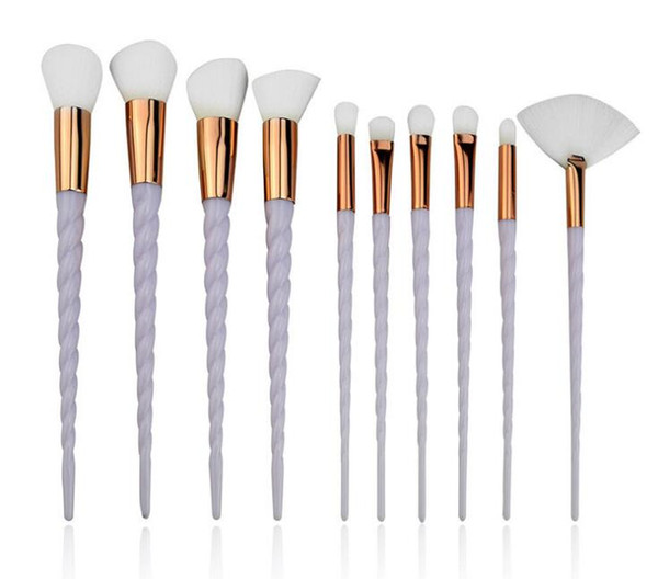 new 10 pcs makeup brush set has seven color spiral handle white hair color synthetic beauty tool