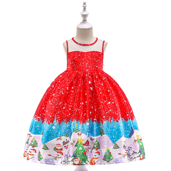 kids children formal party princess gown dresses for holiday celebration performance 2019 christmas costume for girls