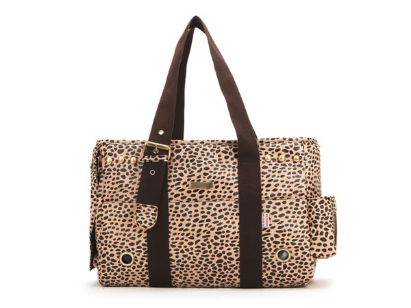 brown leopard nylon fabric pet dogs carrier bag with cotton straps fashion small puppy dogs bag