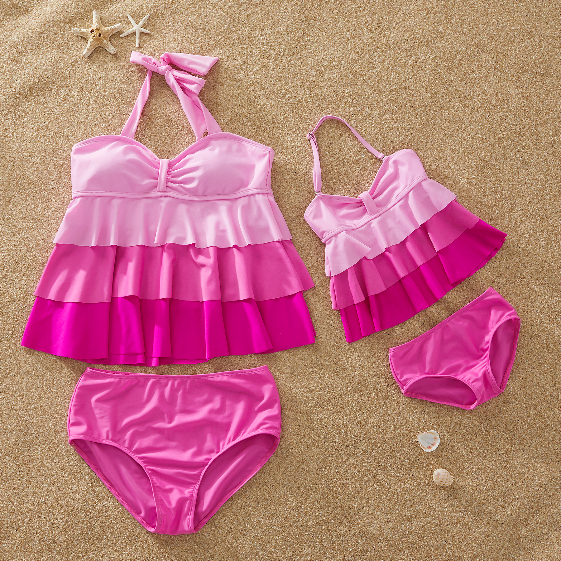 Pink Gradient Ruffle Matching Swimsuits