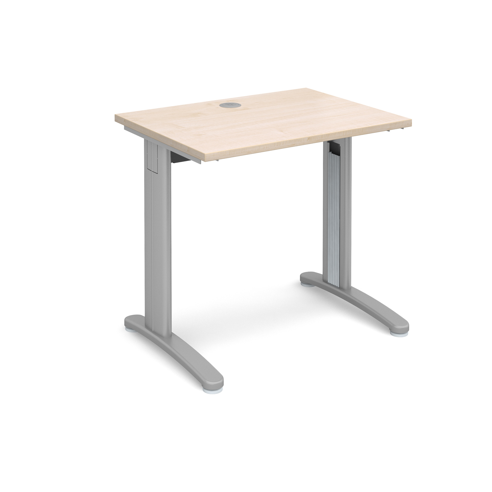 TR10 straight desk 800mm x 600mm - silver frame, maple top