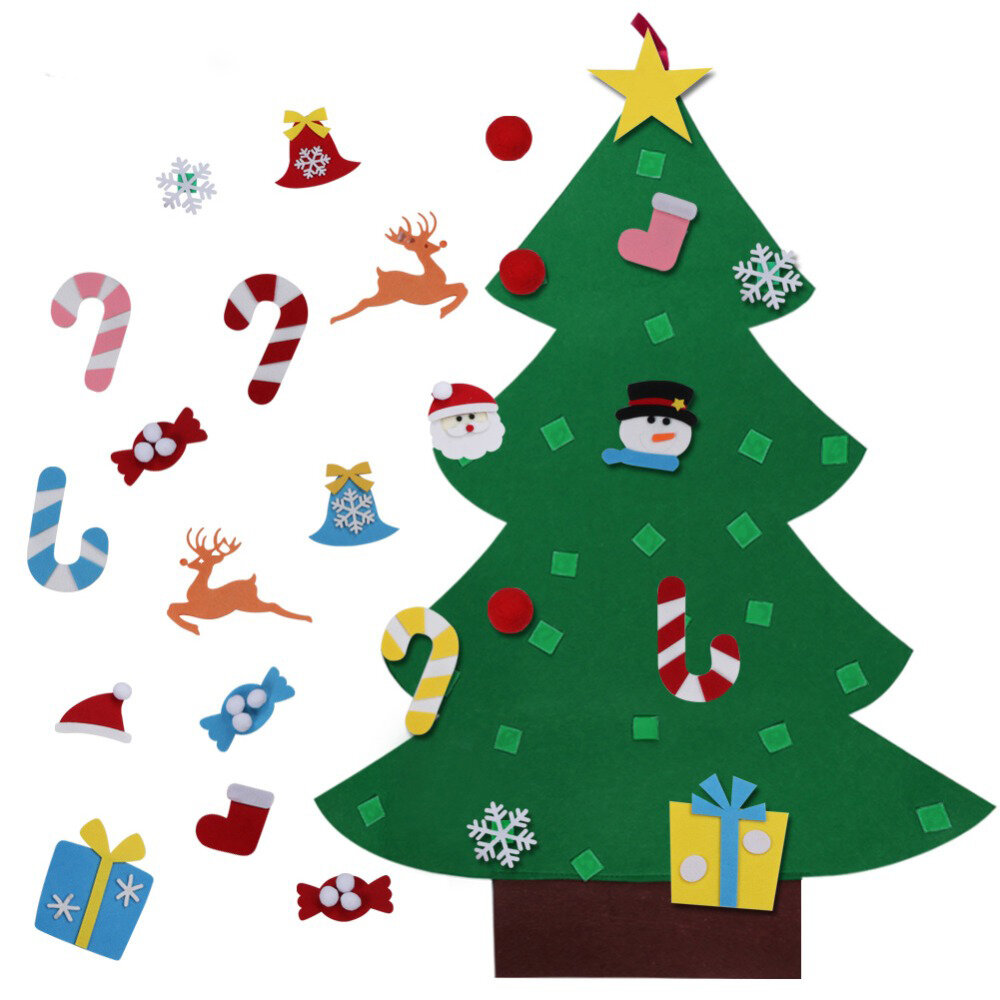 DIY Felt Christmas Tree with Glitter Ornaments Freely Paste Wall Hanging Christmas Trees Christmas Decorations Felt New
