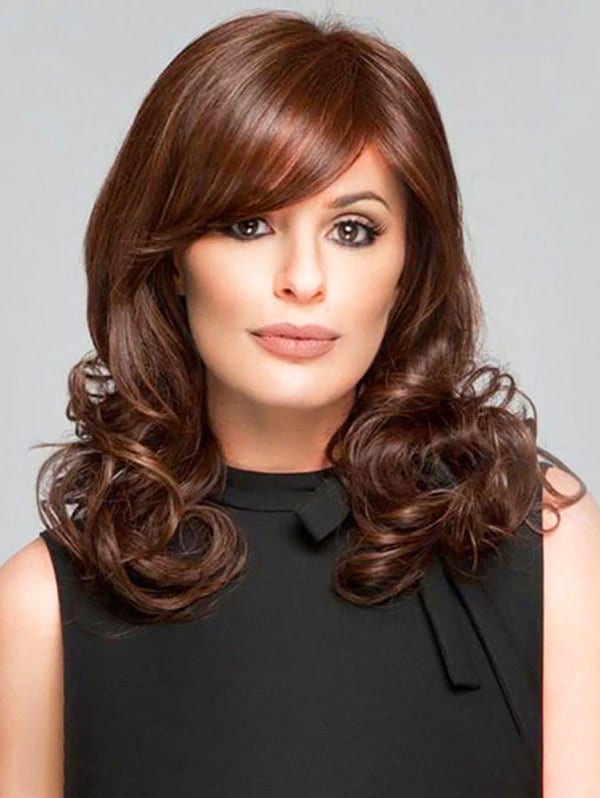 Medium Oblique Bang Wavy Heat Resistant Fiber Synthetic Wig