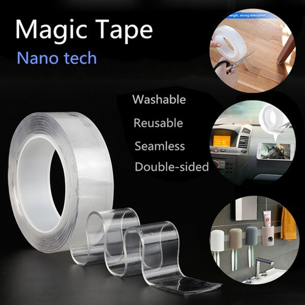 invisible adhesive 1m/3.0m/5m washable adhesive tape seamless tape transparent shear mobile phone kitchen tools key