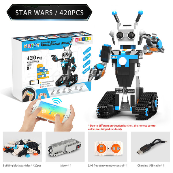 electronics coding robot 420 pcs building blocks programming robot assembled toys rechargeable with tracks control by remote app blue
