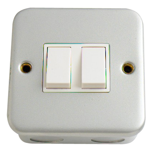 2-Gang 2-Way Light Switch, Metal Clad
