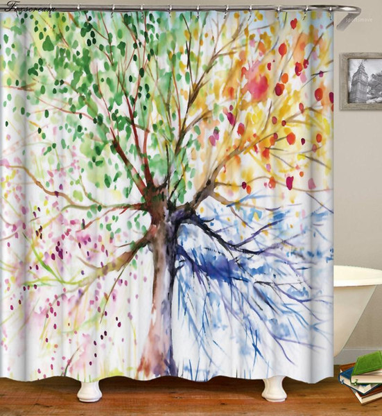 Tree Shower Curtain 3d Curtains bathroom curtain with hooks fabric flower Waterproof funny bath Or Mat1