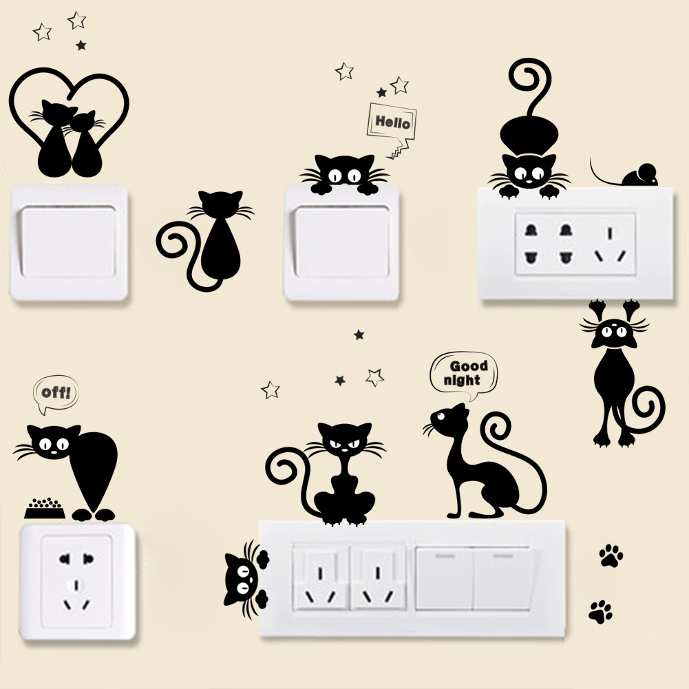 DIY Black Cartoon Cat Removable Wall Sticker