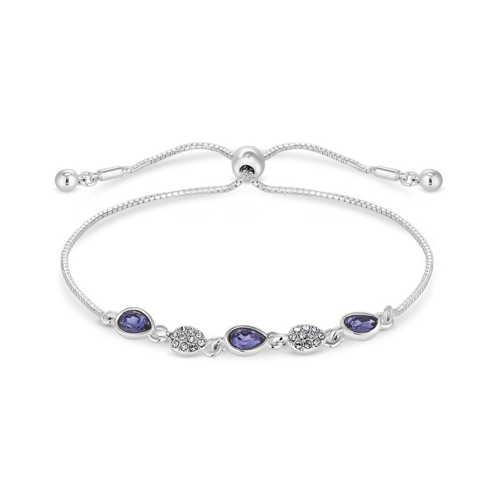 Silver Plate Blue Pave Toggle Bracelet Made With Swarovski Crystal