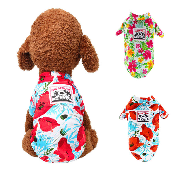 pet dogs summer hawaiian flower shirt casual breathable thin section clothes