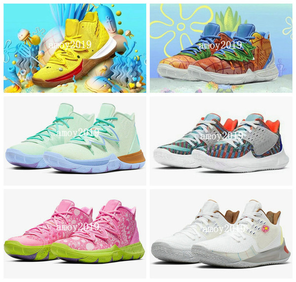 2020 kyrie shoes tv pe basketball shoes 5 for 20th anniversary irving 5s pineapple house graffiti x squidward sponge sports sneakers 7-12