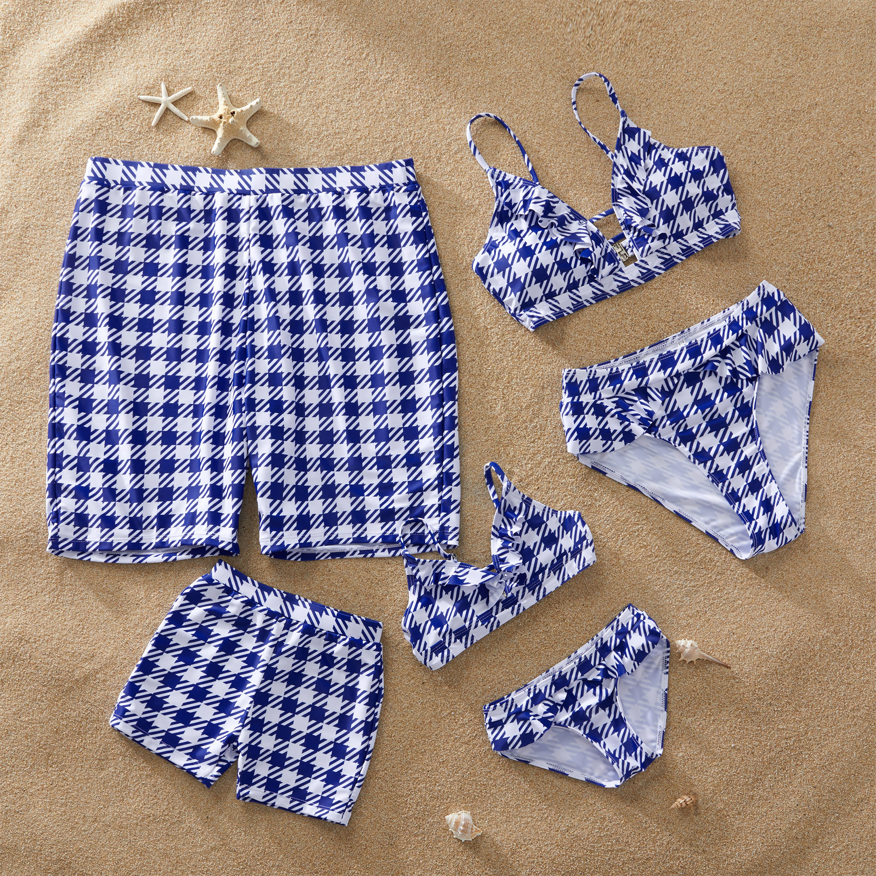 Blue Plaid Matching Swimsuit for Summer