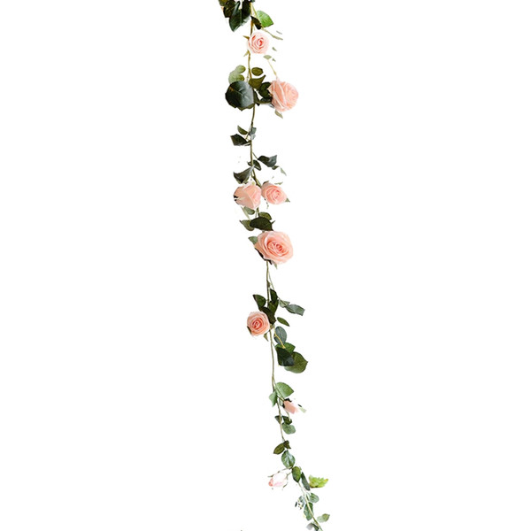 180cm Artificial Rose Flower Ivy Vine Wedding Decor Real Press Silk Flowers String with Leaves for Home Hanging Garland Decor