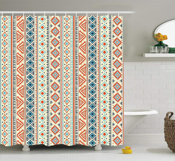tribal shower curtain mexican style aztec patterned retro hand drawn design abstract, fabric bathroom decor set