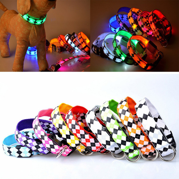 pet cat dog glow led rhombus collar flashing light up nylon night safety collars supplie s m l xl for small medium big dog #01