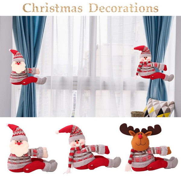 christmas curtain buckle christmas home decorations santa claus sonwman window ornament decor supplies festival kids gifts