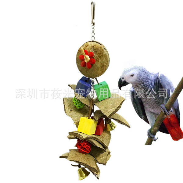 will middle and small size parrot toys coconut shell bite toys a molar tooth gnawing string bite resistant bird toys 278g