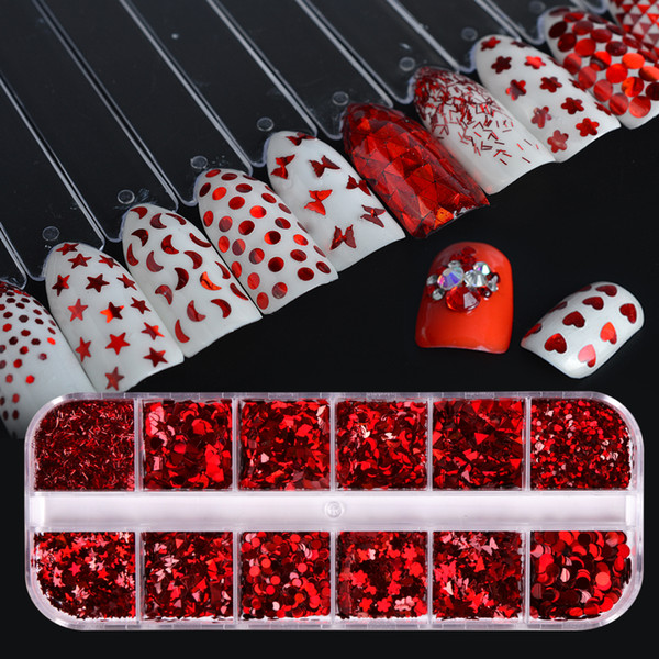 12 designs shiny red mixed shape nail art decorations 3d tips glitter nail sequin thin paillette mini flower diy manicure sa027