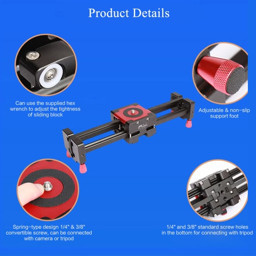 S760 Portable Retractable Track Dolly Slider 50cm Rail Shooting Video Stabilizer 85cm Max Sliding Distance with 1/4