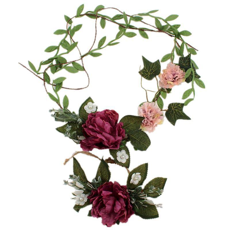 Artificial flowers Floral Holiday Headband Bride Women Flower Crown Hair Band Pearl decoration Wedding gift Wrist flower