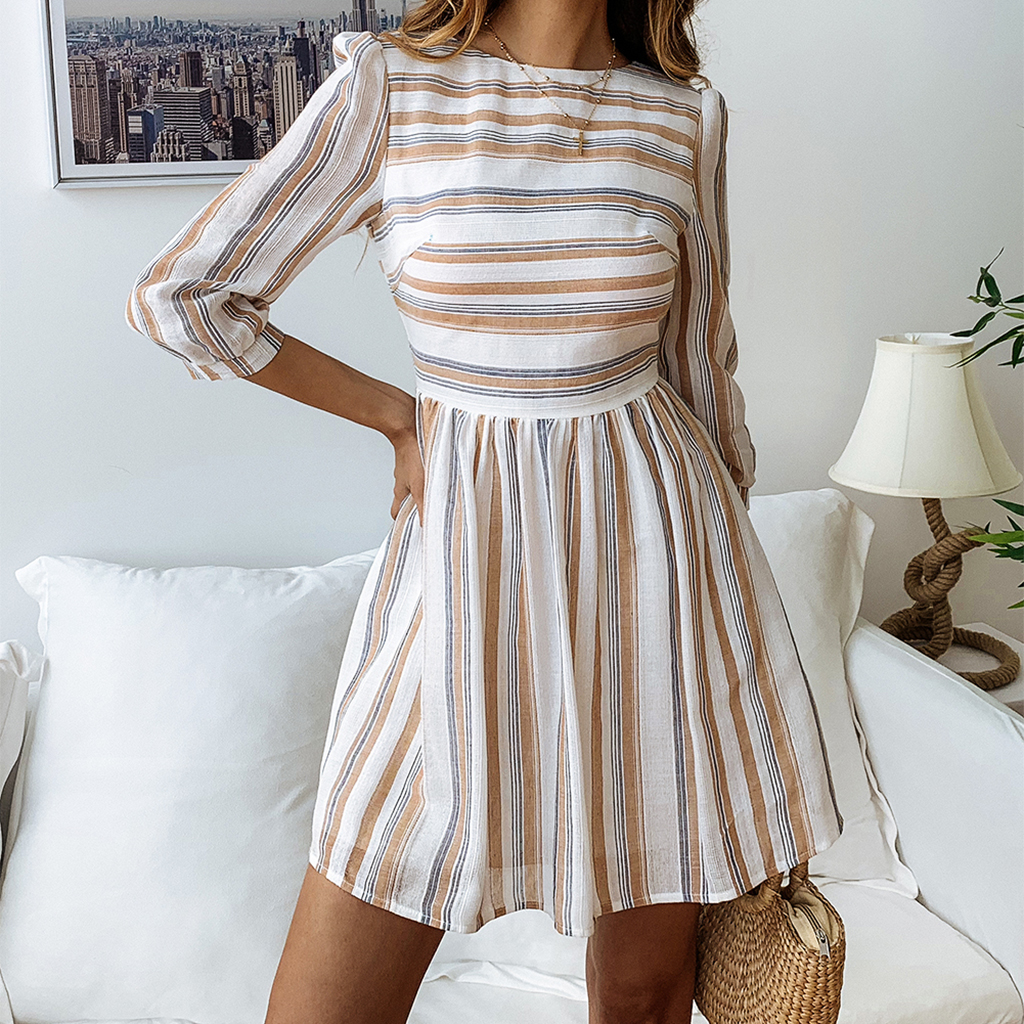 Striped Five Sleeves Casual Dress