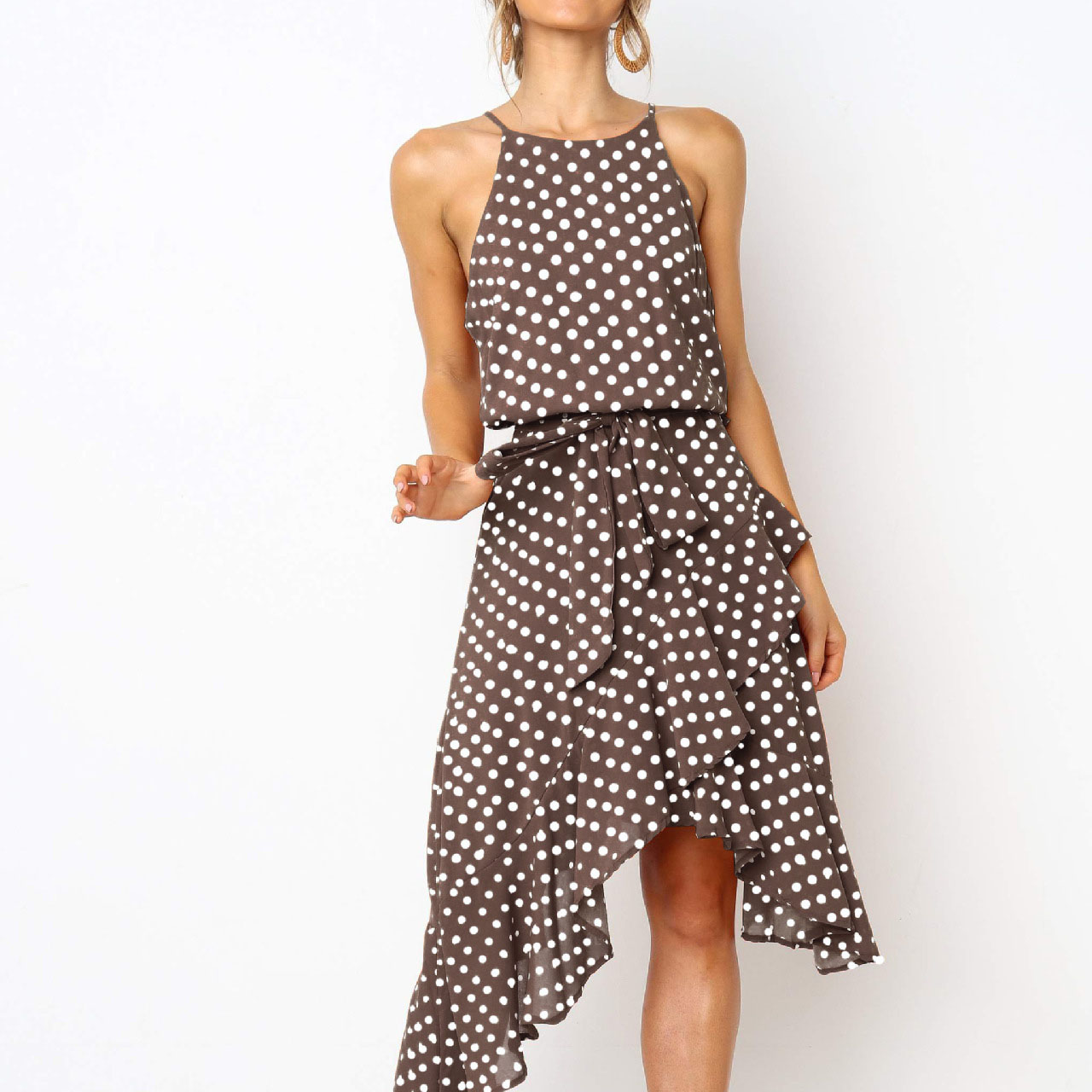 Pretty Sleeveless Dots Cinched waist Irregular Dress