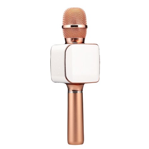 TOSING 02 Wireless Karaoke Microphone BT Speaker 2-in-1 Handheld Singing Recording Portable KTV Player for iOS Android Smartphones Tablet PC Rose Gold