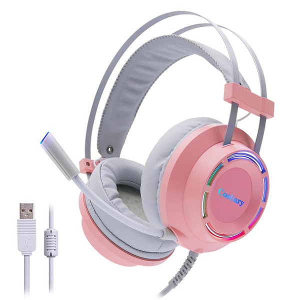 cosbary headphones pink gaming headset with microphone usb wired 7.1 surround sound led light for pc gamer computer lapxbox