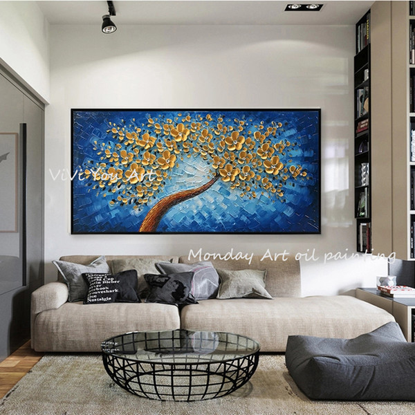 modern home decoration 100% handpainted canvas oil painting 3d gold flower painting wall art picture for living room home decor