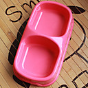 Plastic Pet Food Double Bowl pour Chiens Chats (couleurs assorties, 22 x 12 x 5cm)
