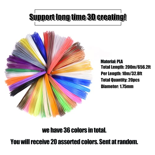 3D Printing Pen Printer Intelligence Drawing  OLED Screen w/ 200m/656.2ft 1.75mm PLA Filament for DIY Doodling Art Craft Making Modeling Children Education Kid Gift (20 Assorted Color Filament)