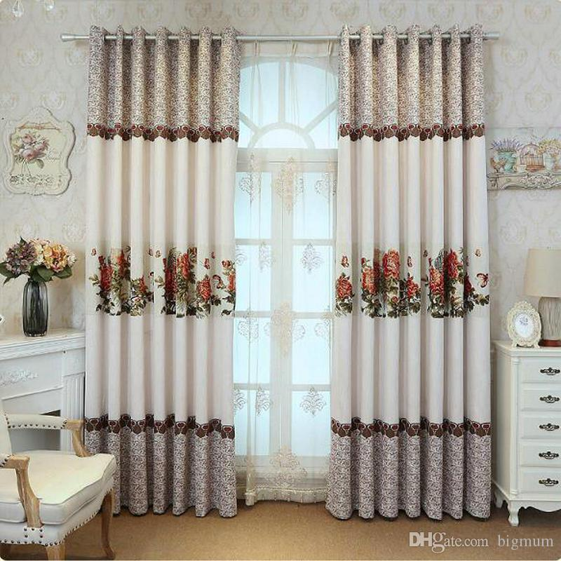 Chinese Style Blackout Curtain Linen for Living Room Greek Key Natural Scenery and Red Peonies Eco-Frinedly Curtain Decoration