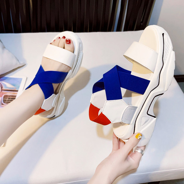 Mixed Colors Open Toe Sport Sandals Women Shoes Summer Stretch Fabric Platform Wedge Sandals Women Fashion Beach Shoes 2020
