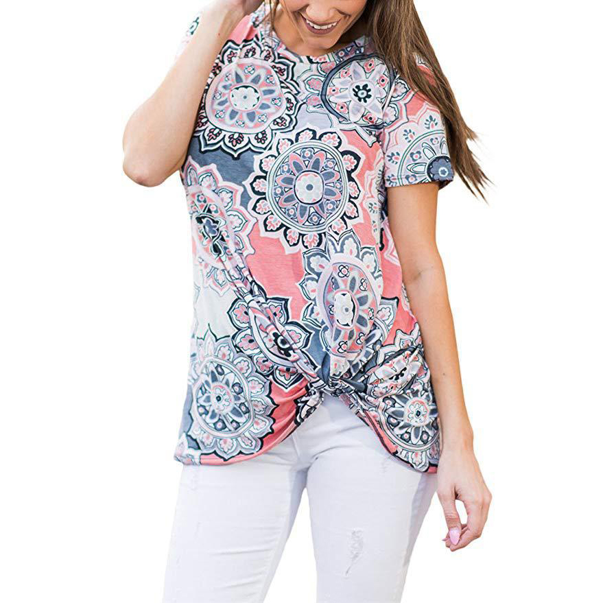 Chic Floral Printed Knot Short-sleeve Tee