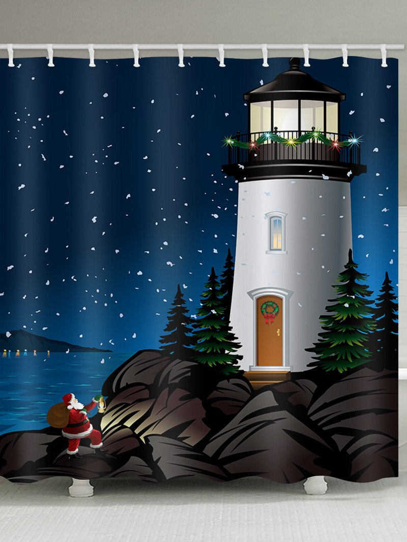 Lighthouse Father Christmas Pattern Waterproof Shower Curtain